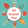 It is summer time. Hand drawn summer time circle theme