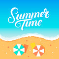 Summer time hand written lettering on sea and beach background.