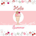 Summer time hello summer with ice cream greeting card