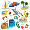 Summer time icon set of hand drawn icons Stock Image