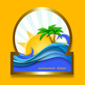 Summer time icon on a yellow surface Royalty Free Stock Images