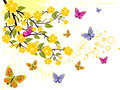Summer time illustration of a branch with yellow blossom and colorful butterflies Royalty Free Stock Photo