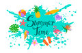 Summer time isolated background with paint splatter, hand written text and decorative elements. Royalty Free Stock Photo