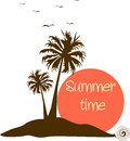 Summer time label vector illustrated with palm trees and sun text is removable Royalty Free Stock Photography