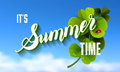 It is Summer Time Lettering Background With green Clover. Vector Royalty Free Stock Photo