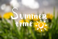 Summer time lettering with blur background.