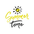 Summer time lettering on white background. Vector hand drawn illustration for greeting cards.