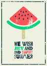 Summer time phrase typographical grunge poster with a piece of watermelon on a stick. Retro vector illustration. Royalty Free Stock Photo