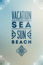 Summer time poster. Vector typographical design on blurry background with folk ornaments. Eps 10. Royalty Free Stock Photo