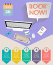 Summer time purple infographic, with book now text, computer and travel accessories Royalty Free Stock Photo