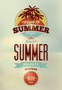 Summer time retro poster. Vector typographical design with blurry background. Eps 10. Royalty Free Stock Photo