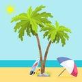Summer time seach sea shore realistic accessory vector illustration sunshine travel