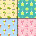 Summer time seamless pattern beach sea shore realistic accessory vector illustration sunshine travel Royalty Free Stock Photo
