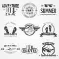 Summer time set. Tourist agency. Travel around the world. Detailed elements. Typographic labels, stickers, logos and