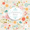 Summer Time. Summer multicolored  flowers. Summer Flowers Seamless Background. Royalty Free Stock Photo