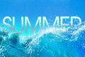 Summer Time text in big ocean waves Royalty Free Stock Photo