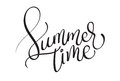 Summer time text on white background. Calligraphy lettering illustration EPS10