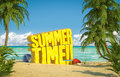 Summer time tropical beach big yellow text in the sand of a Stock Photography