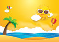 Summer time vector banner design. Sun with hot air balloons