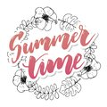 Summer time vector banner design with white circle for text and colorful beach elements in white background. Vector illustration Royalty Free Stock Photo