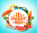 Summer time vector banner design with white circle Royalty Free Stock Photo