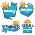 Summer time, vector collection of water and sun