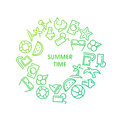 Summer time vector illustrations with icons Royalty Free Stock Photo