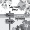 Summer time. Vector summer surf camp retro banner. Surfing concept for shirt or logo, print, stamp. Royalty Free Stock Photo