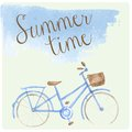 Summer time watercolor hand drawn bicycle. Patel Royalty Free Stock Photo