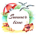 Summer time. Watercolor hand-drawn