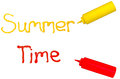 Summer time the words and written in cursive with mustard and ketchup Royalty Free Stock Photography
