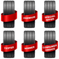 Summer tires with promo red banners isolated on white background Stock Image