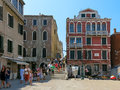 Summer tourism in venice italy tourists walking and sightseeing location ponte de la cortesia veneto Stock Images