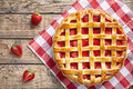 Summer traditional strawberry pie tart cake sweet baked pastry food Royalty Free Stock Photo