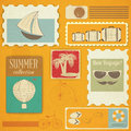 Summer travel card in vintage style grunge vacation postcard with items old illustration Stock Photos