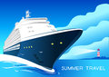 Summer travel cruise ship. Vintage art deco poster illustration. Royalty Free Stock Photo