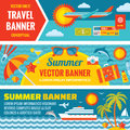 Summer travel decorative horizontal vector banners set in flat style design trend backgrounds Royalty Free Stock Photo