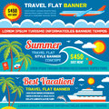 Summer travel - decorative horizontal vector banners set in flat style design trend. Summer travel vector backgrounds.