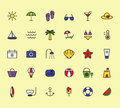summer, travel, holiday and beach icons set on white background