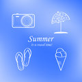Summer and travel icon set on abstract blurred blue background logo vector design illustration Royalty Free Stock Image