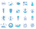 Summer, travel, pirate icons set vector