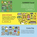 Summer travel and sea cruise vacation web banners vector templates Royalty Free Stock Photo
