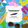 Summer travel template with beach accessories. A paper with a bent corner on a blue background with summertime items.