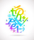 Summer travel type design multicolored Stock Photos
