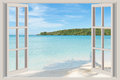 Summer, Travel, Vacation and Holiday concept - The open window, Royalty Free Stock Photo