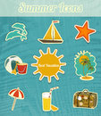 Summer travel vacation icons retro background illustration Stock Image
