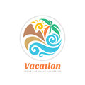 Summer travel vacation vector logo concept illustration in circle shape. Paradise beach color graphic sign. Sea resort, sun.