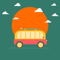 Summer travel van and surfing poster