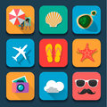 Summer traveling flat design icons set fat trend vector eps Royalty Free Stock Images
