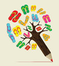 Summer tree pencil concept colorful flip flop vector illustration layered for easy manipulation and custom coloring Royalty Free Stock Photos